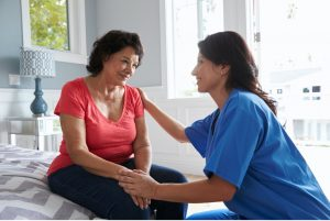 abington home care provider comforting client